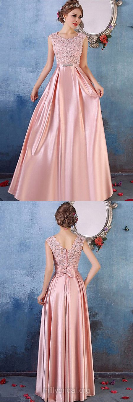 Pink Prom Dresses Long, 2018 Formal Dresses A-line, Scoop Neck Party ...
