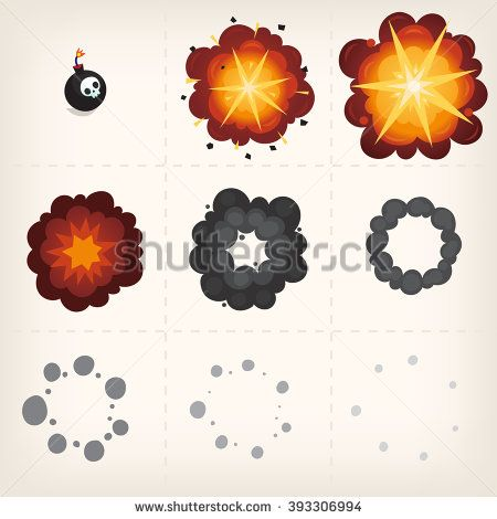 Animation of explosion. Cartoon vector sprites. Isolated frames ...
