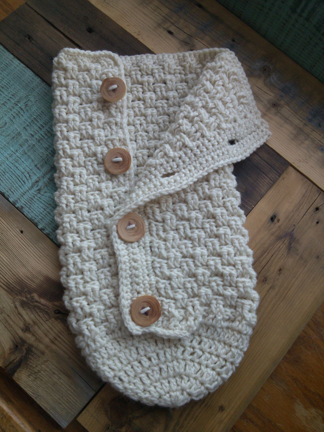 Newborn Crochet Button Down Baby Cocoon by FiveKidsAndACow on Etsy ...