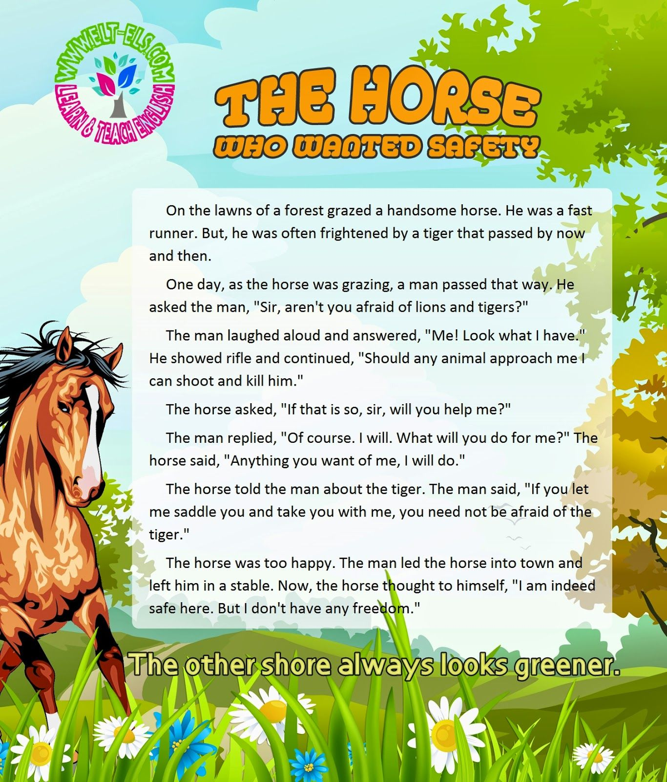Reading / Moral Stories - The horse who wanted safety  English
