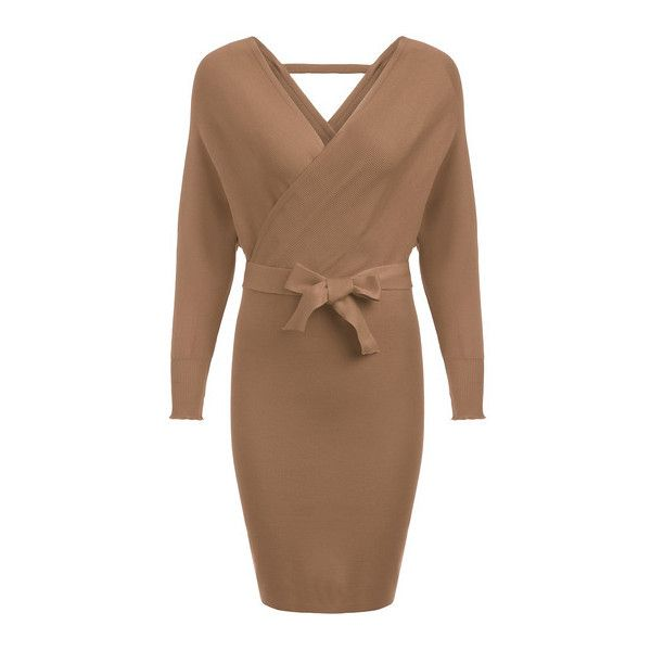 b823d3189056 Khaki Deep V Neck Bow Tight Sweater Dress ( 26) ❤ liked on Polyvore  featuring dresses