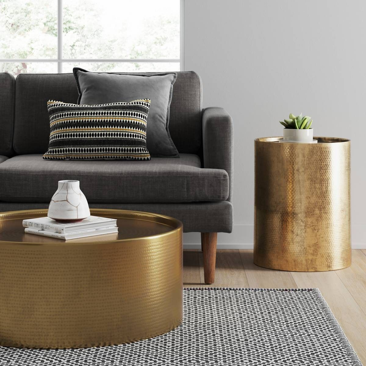 Brass coffee table and side Target Barrel coffee table