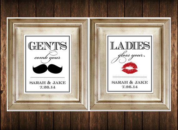 Clever Bathroom Signs set of 2 bathroom signs - customized ladies & gents wedding