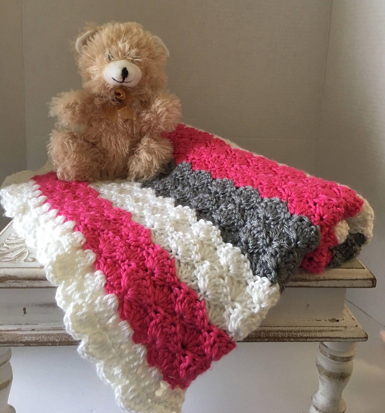 Crocheted Baby Blanket Pink Crochet Blanket Stroller