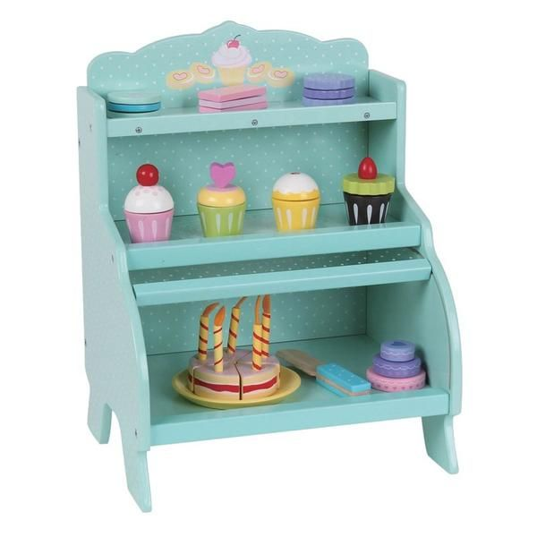 Mentari Wooden Toy Dessert Cupcake Stand With Cupcakes And Desserts