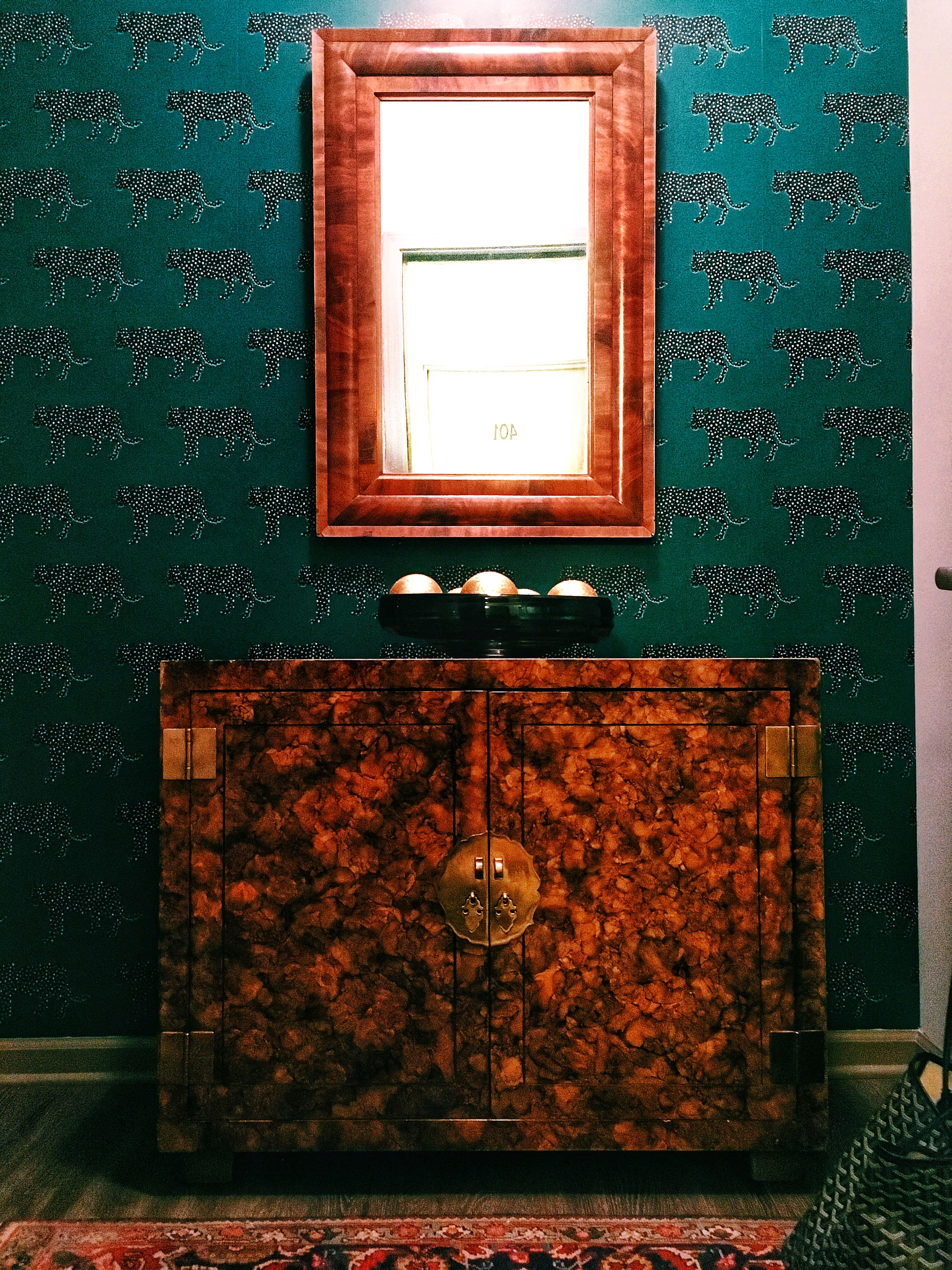 Target Opalhouse wallpaper with flame mahogany mirror and