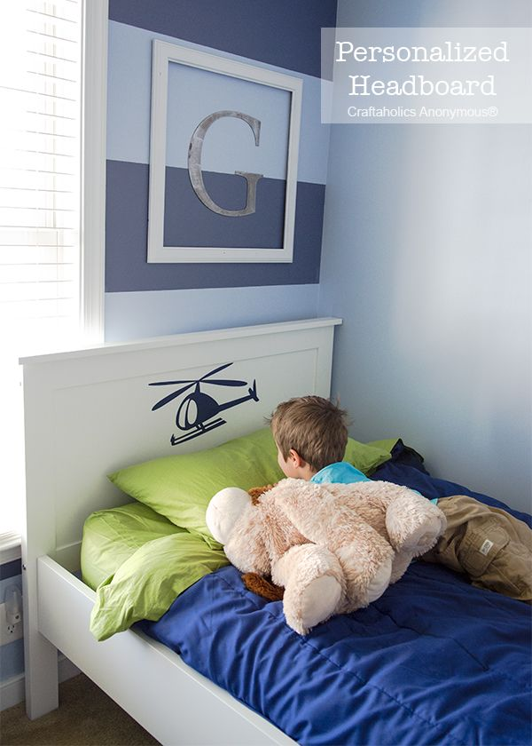 "Personalized Headboard: ""A"" for Anderson! Use vinyl for a simple headboard makeover! So easy!"