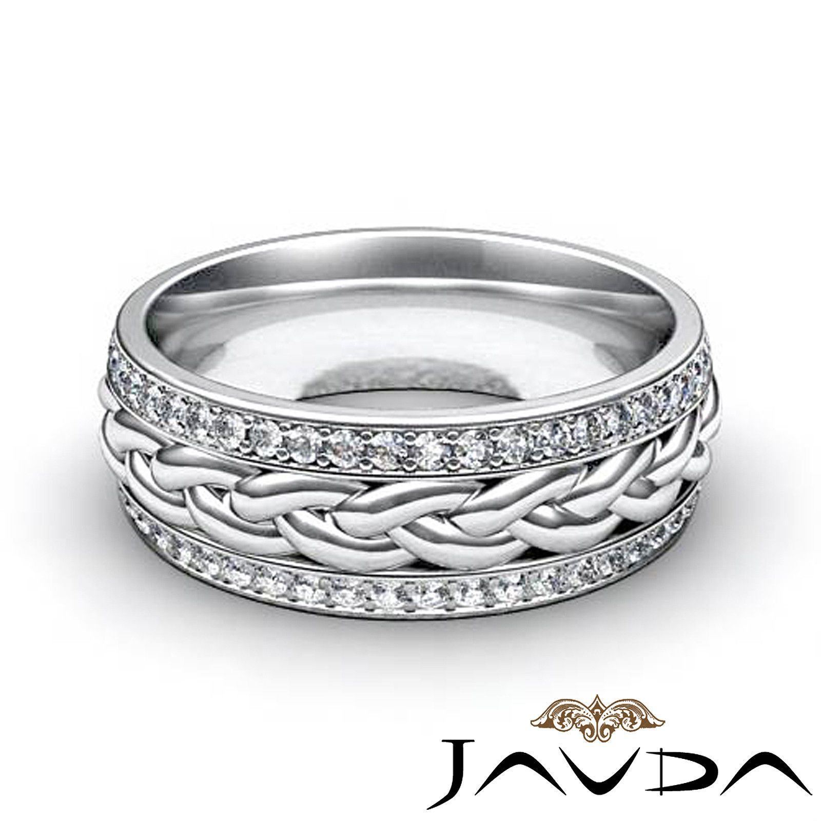 Details about Round Diamond Mens Eternity Wedding Band Braided