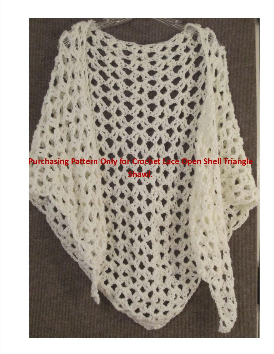 Pattern only crochet triangle lace shell stitch shawl wrap 400 pattern only crochet triangle lace shell stitch shawl wrap 400 via etsy bankloansurffo Image collections
