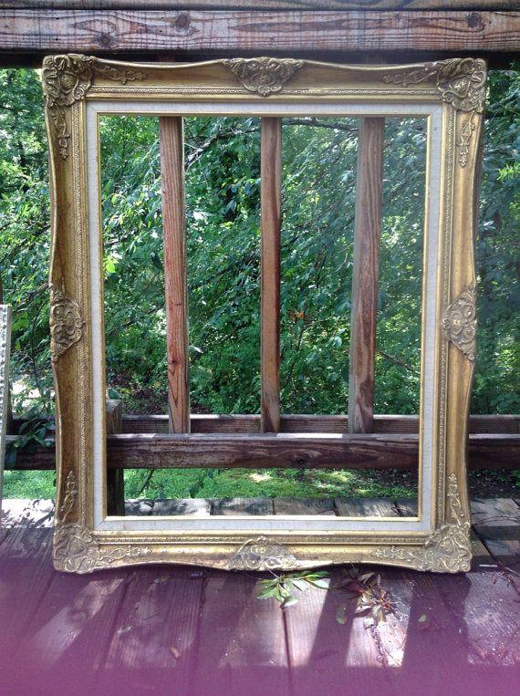 LARGE vintage frame, gold frame, large wood frame | Woods and Vintage