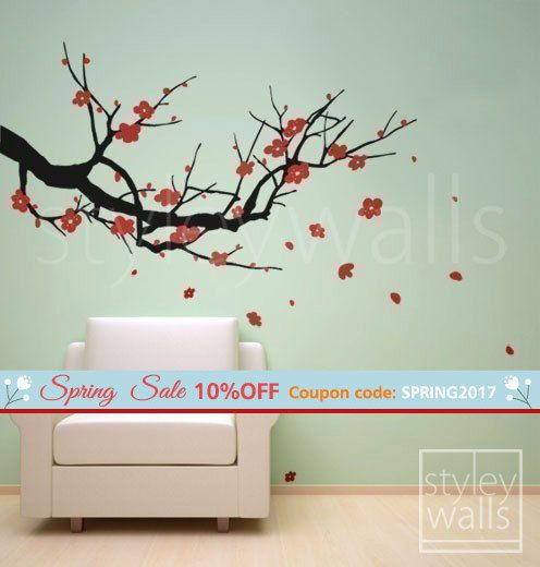 Cherry Branch Wall Decals Cherry Blossom Wall Decal Sakura Wall - How to put up a tree wall decal