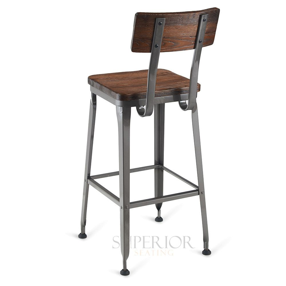 Industrial Wood Back Steel Restaurant Bar Stool With Solid Ash