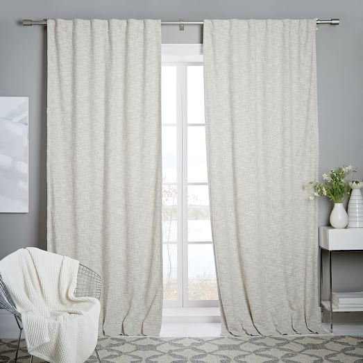 Cotton Textured Weave Curtain Blackout Lining Ivory Curtains