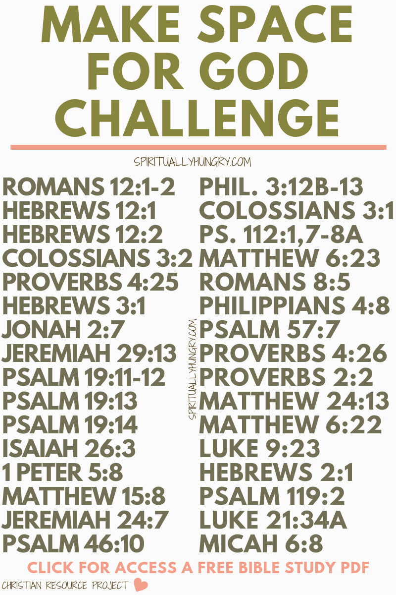Make Space For God 31 Day Challenge Writing plan, Daily