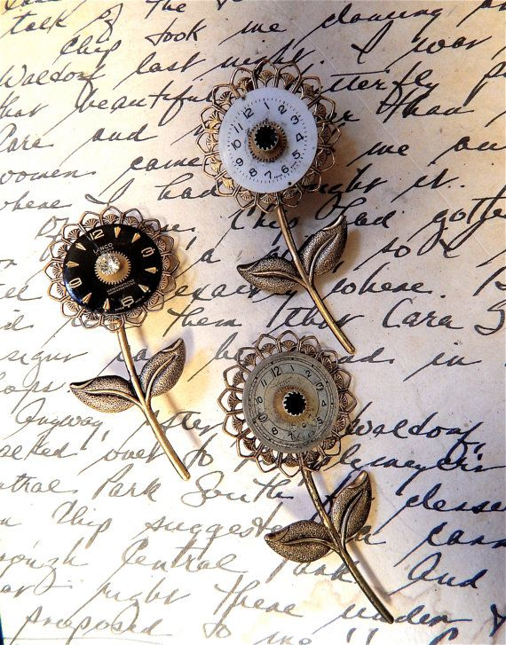 Broche fleur steampunk, broche Steampunk, Steampunk Vintage, broche Steampunk, Fleur broche, pièces de montres Vintage, Steampunk, fleur #vintagewatches