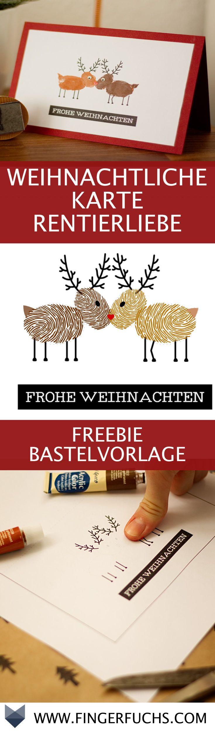 DIY Karte Rentierliebe - Kostenlose Bastelvorlage mit Fingerabdruck #bastelideenweihnachten