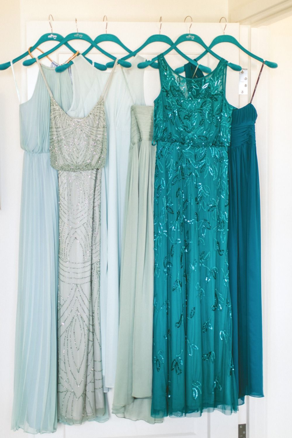 Teal Mint And Gold Modern Wedding Teal Bridesmaid Dresses