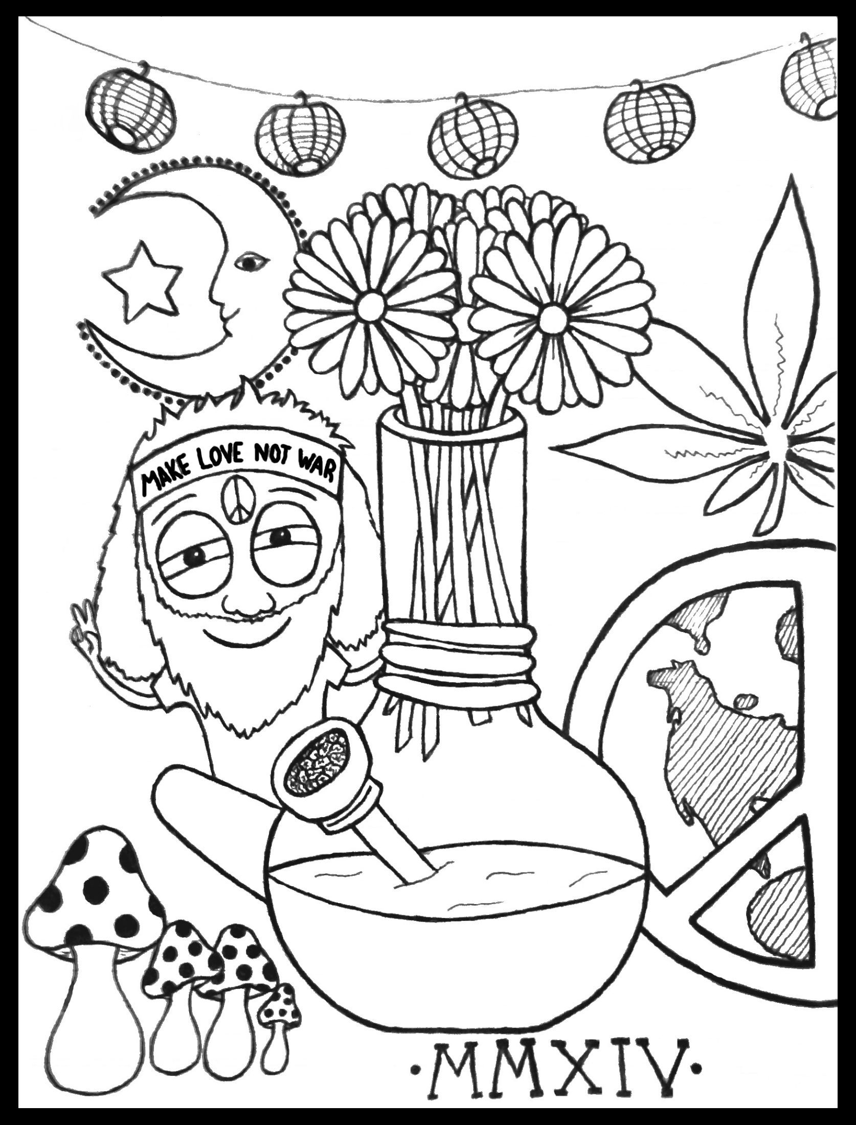 Hippie Coloring Book Page