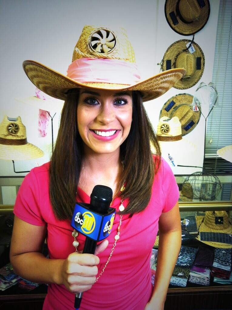 Abc30 S Amanda Venegas Sporting A Cowboy Hat With A Cooling Fan The Hat Is Made By Kool Breeze Solar Hats And Was Featured As Part Of Cowboy Hats Event Hats