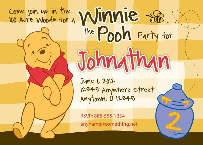 Winne The Pooh Birthday Invitation Diy Printable Invitation By Cici And Bobo 9 00 Via E Winnie The Pooh Birthday Pooh Invitation Birthday Invitations Diy