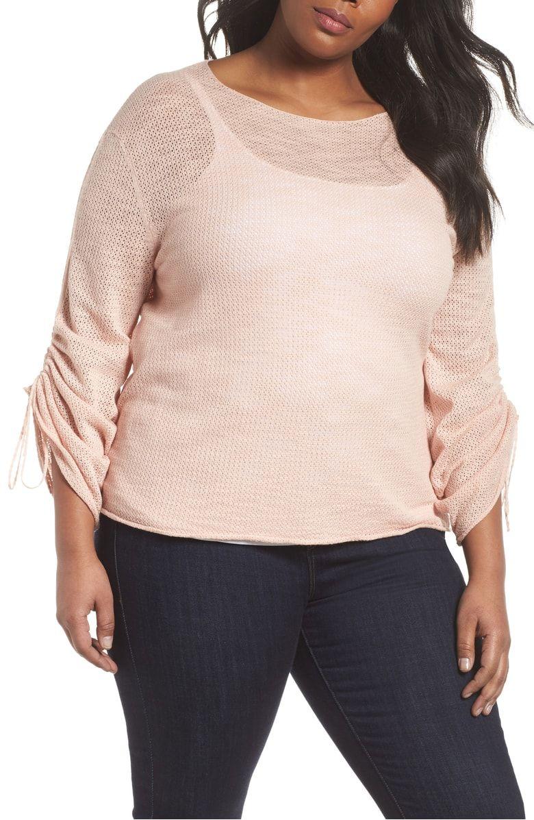 36e44c2d778 Tie Sleeve Pointelle Sweater