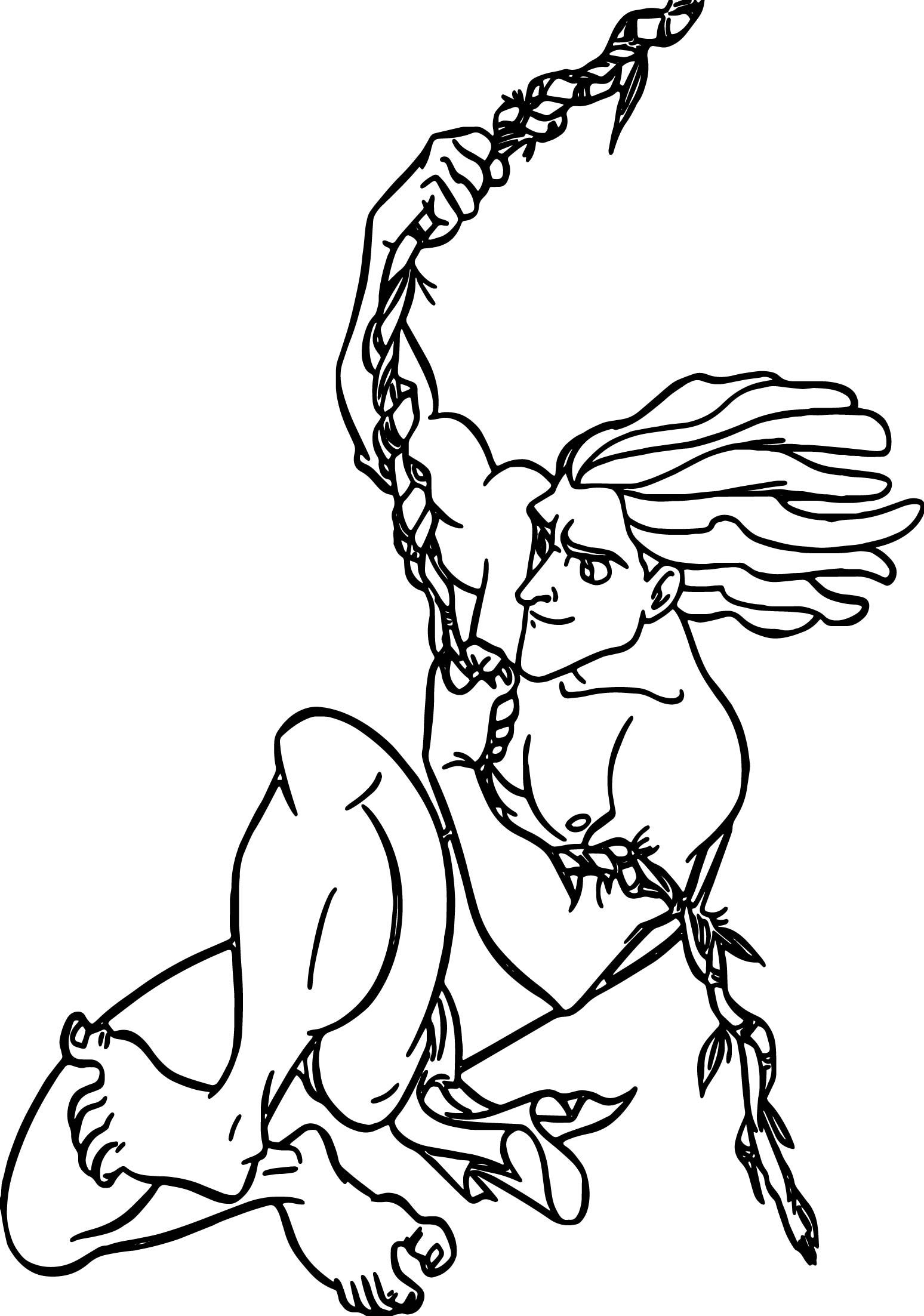 Nice Tarzan Vine Rope Coloring Page Coloring Pages Coloring