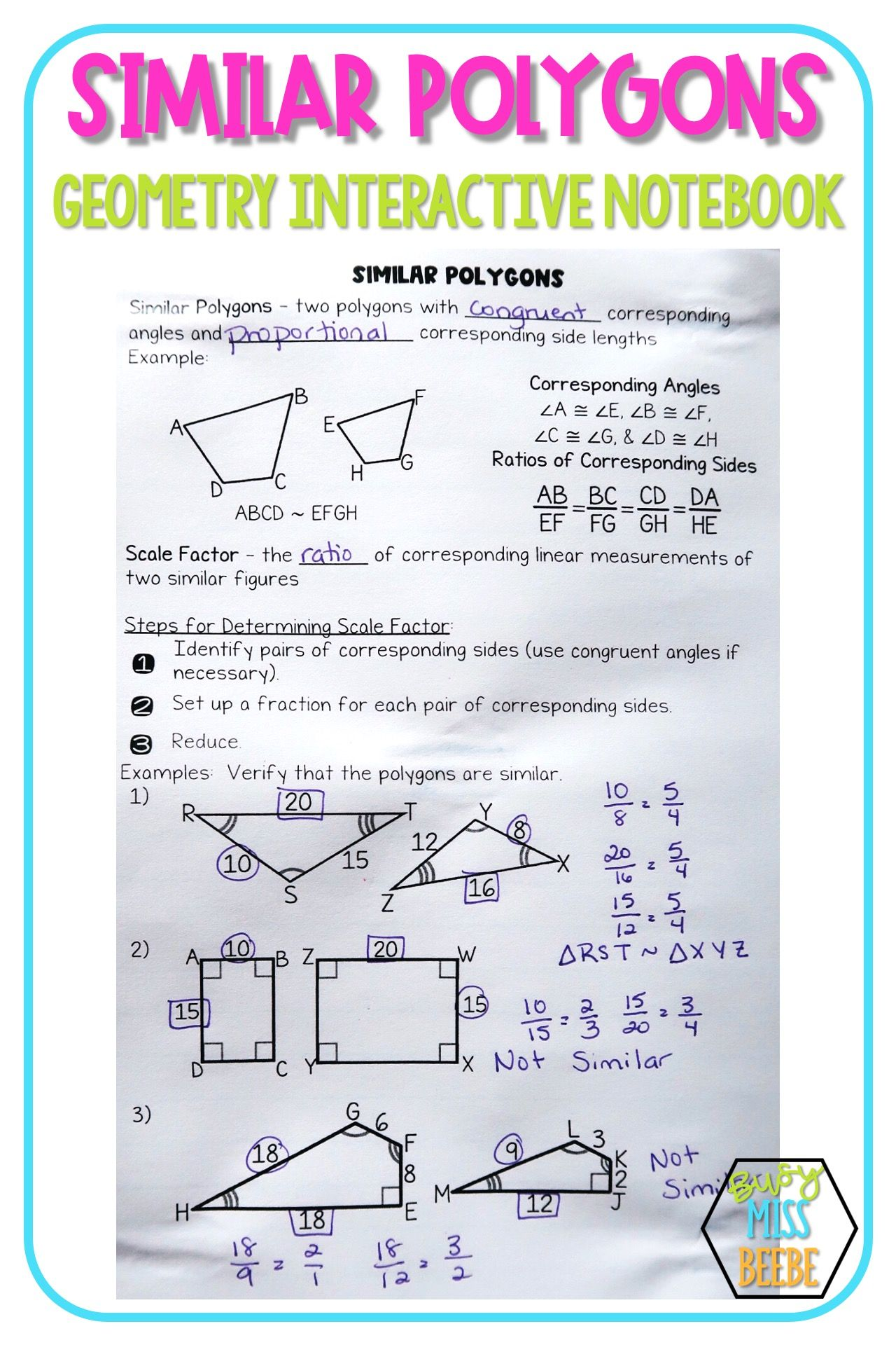 Geometry Interactive Notebook Similarity Busy Miss Beebe In 2020 Geometry Interactive Notebook Interactive Notebooks Math Word Problems