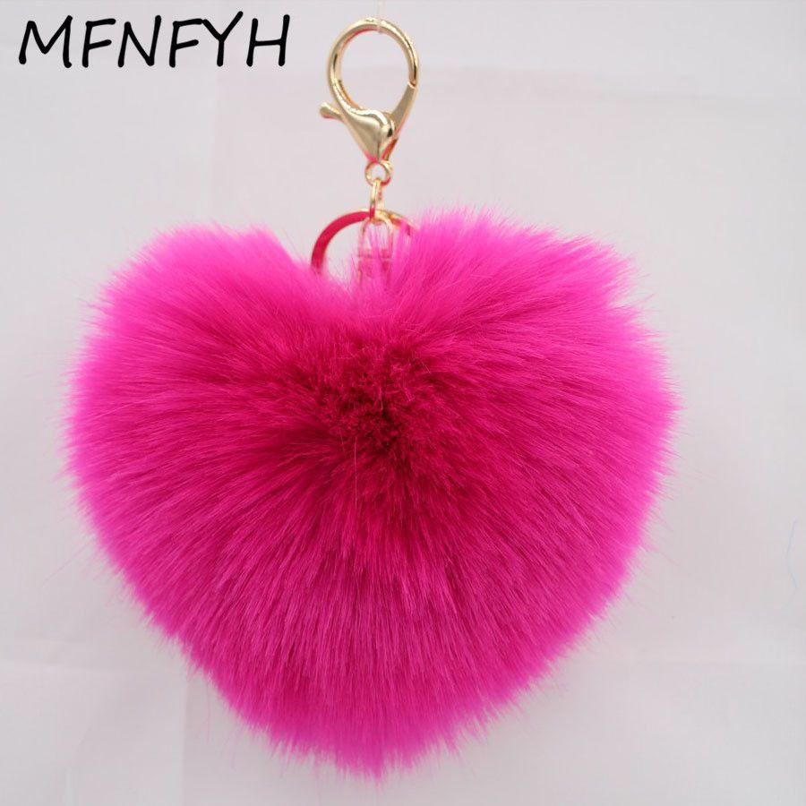 MFNFYH 12cm Fur Pom Pom Fluffy Bunny Love Heart Key Chain Car Key Ring Women  Bag 28acc03187