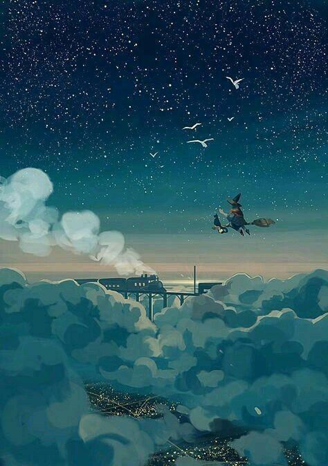 Siɥʇ ʇɐ ʞoo アニメの風景 風景 宇宙 イラスト