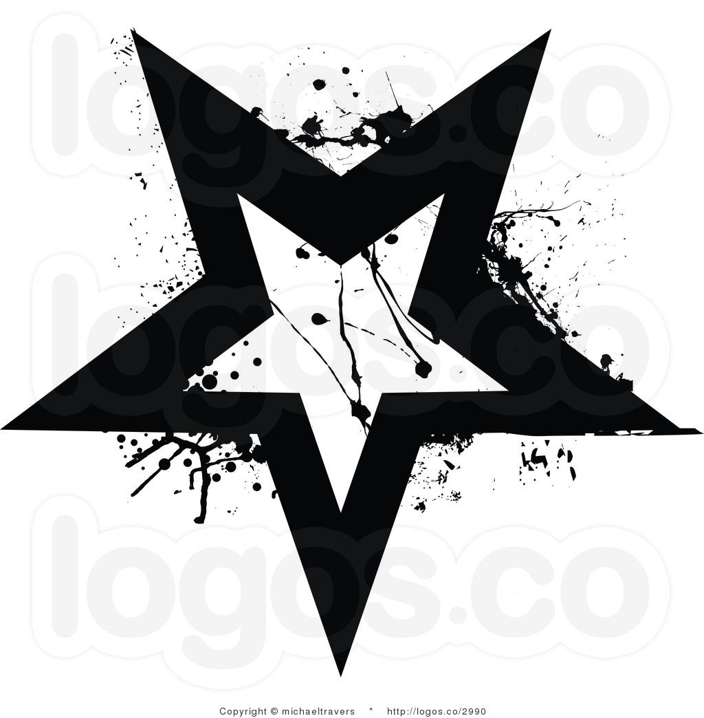 Royalty Free Vector Of A Black And White Grunge Star Logo Star Logo Vector Free Black And White