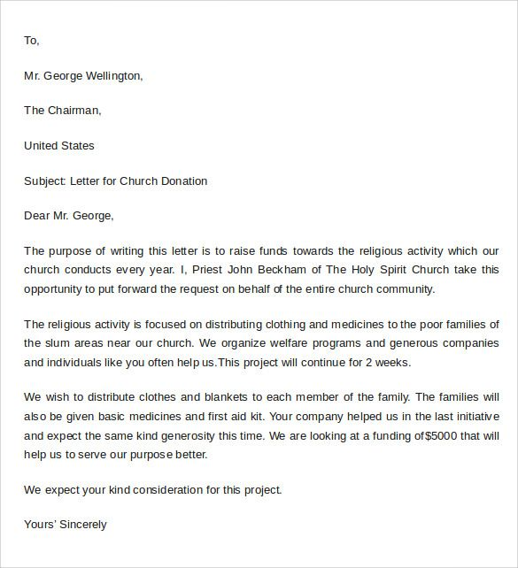 Sample Thank You Letter For Donation To Church template Letter