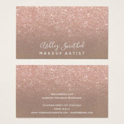 Modern faux rose gold glitter kraft makeup business card artists modern faux rose gold glitter kraft makeup business card artists unique special customize presents artists pinterest makeup business cards and rose reheart Image collections