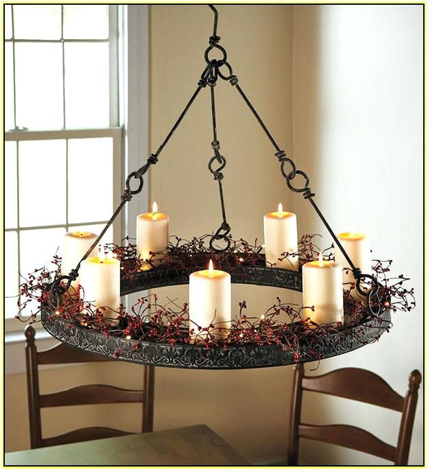 Round Pillar Candle Chandelier Hanging Diy