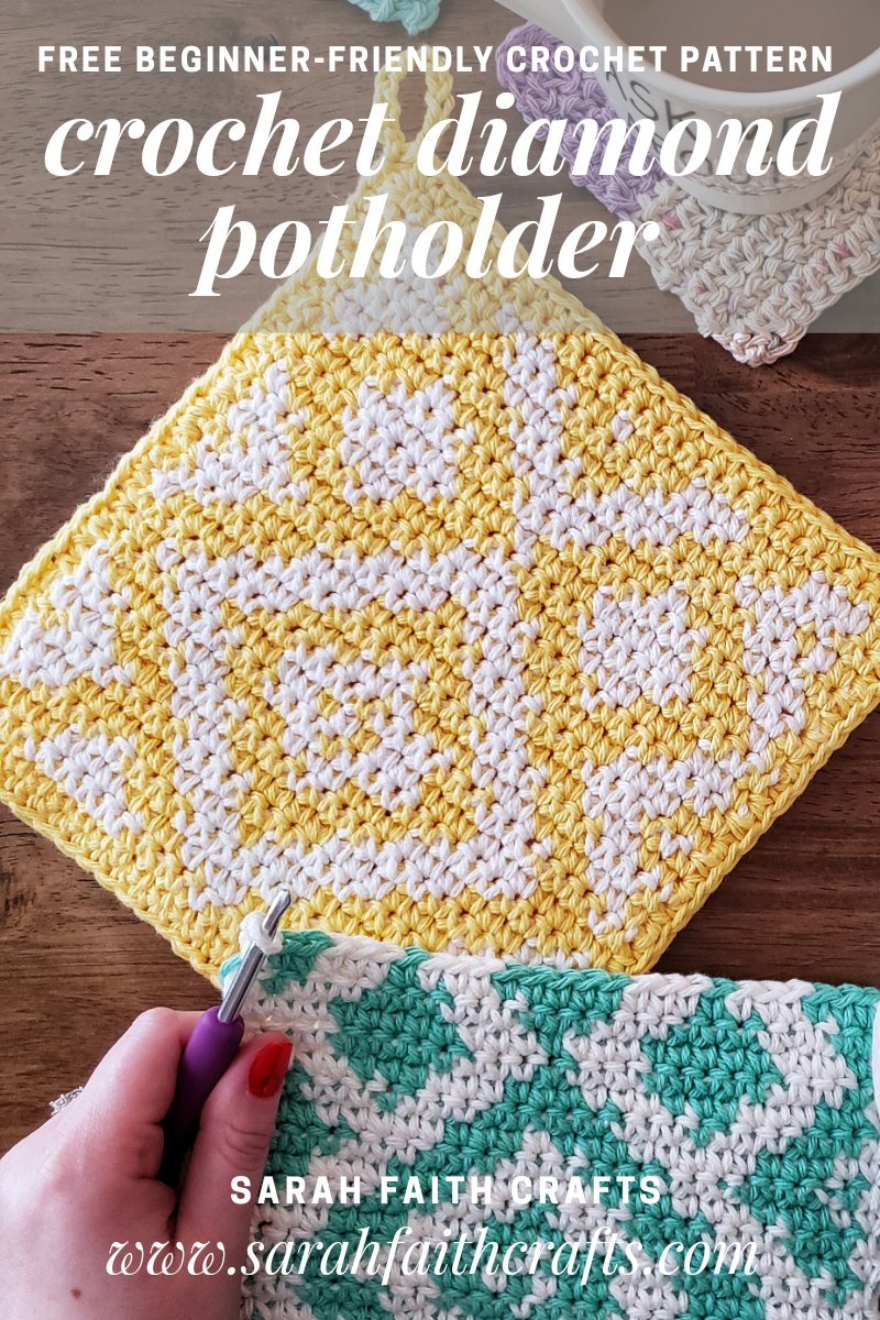 Tapestry Crochet Diamond Potholders | Sarah Faith Crafts - Free Knitting and Crochet Patterns