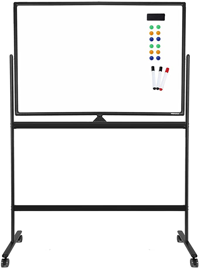Amazon Com Mobile Whiteboard Magnetic White Board 48 X 32 Inches Double Sided Rolling Large Reversib Magnetic White Board White Board Dry Erase Board Easel
