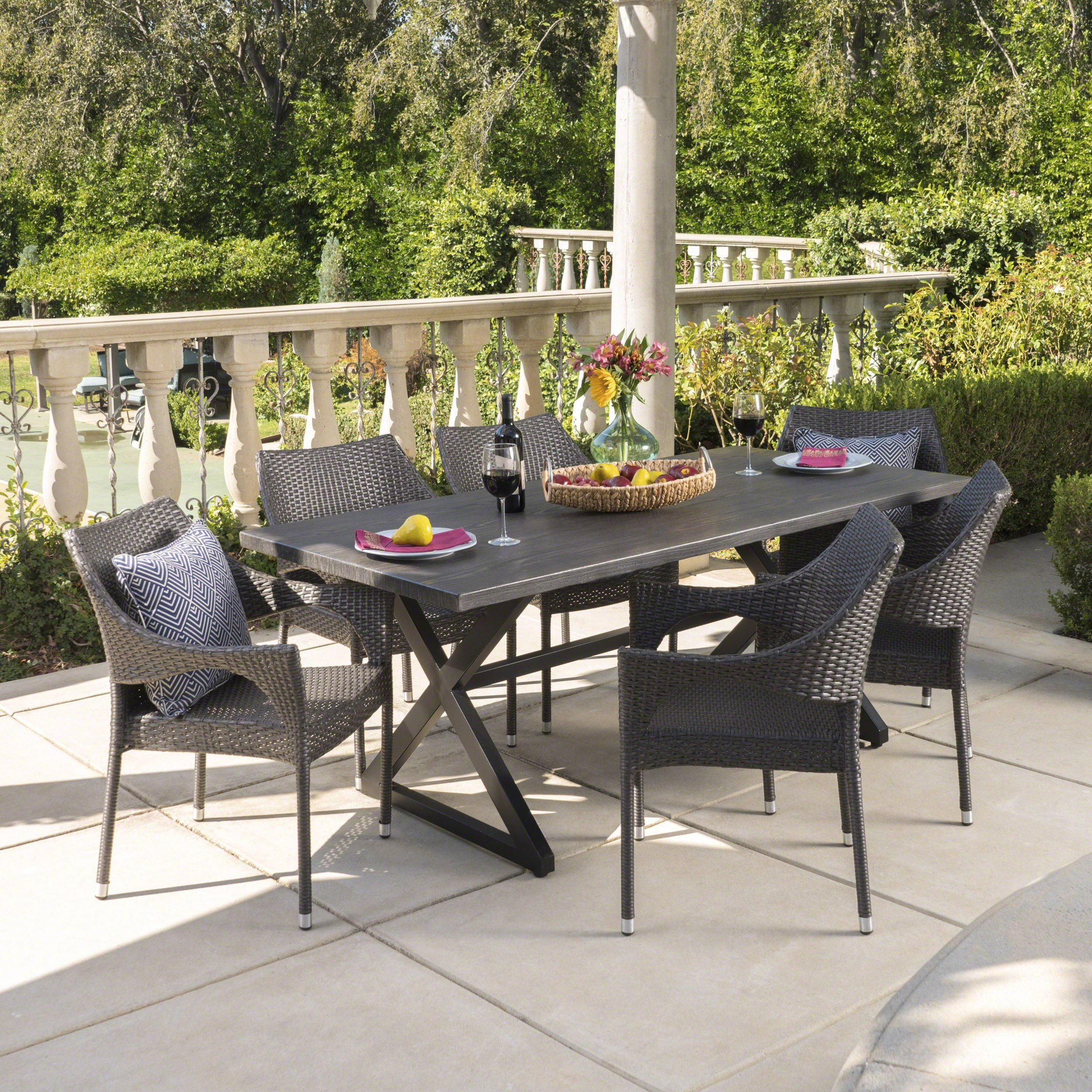 Graywood Outdoor 7 Piece Wicker Dining Set With
