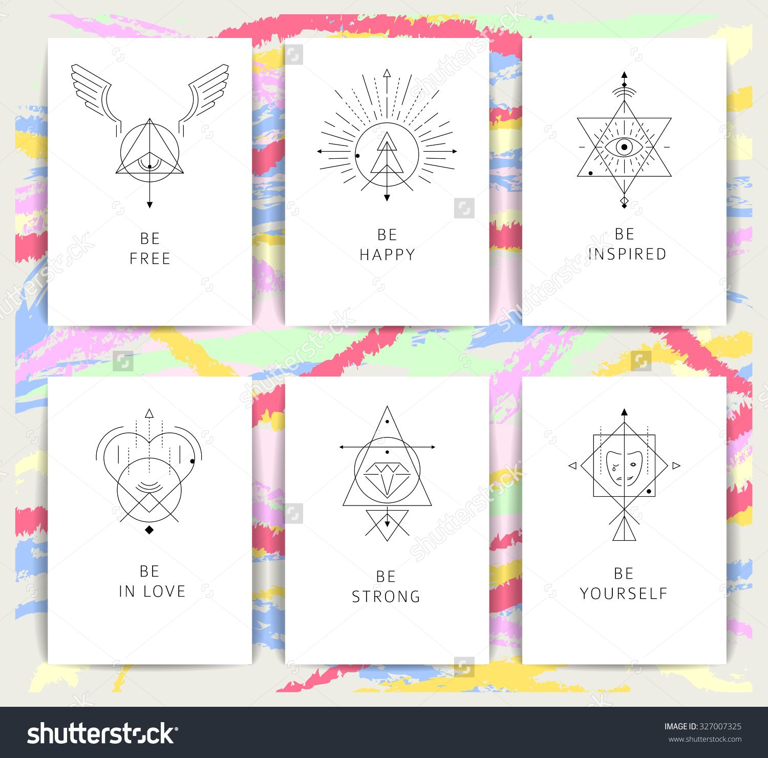 Set of vector geometric alchemy symbols with inspired phrases set of vector geometric alchemy symbols with inspired phrases abstract occult and mystic signs business card templates line hipster logotype colourmoves