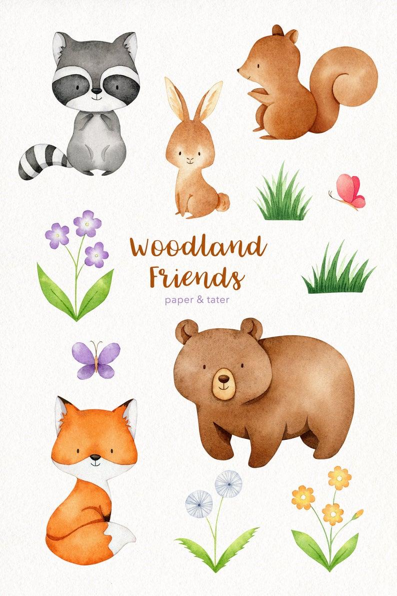 Watercolor Woodland Animals Clipart Graphics Forest Baby Etsy In 2021 Watercolor Animals Baby Animal Prints Woodland Animals