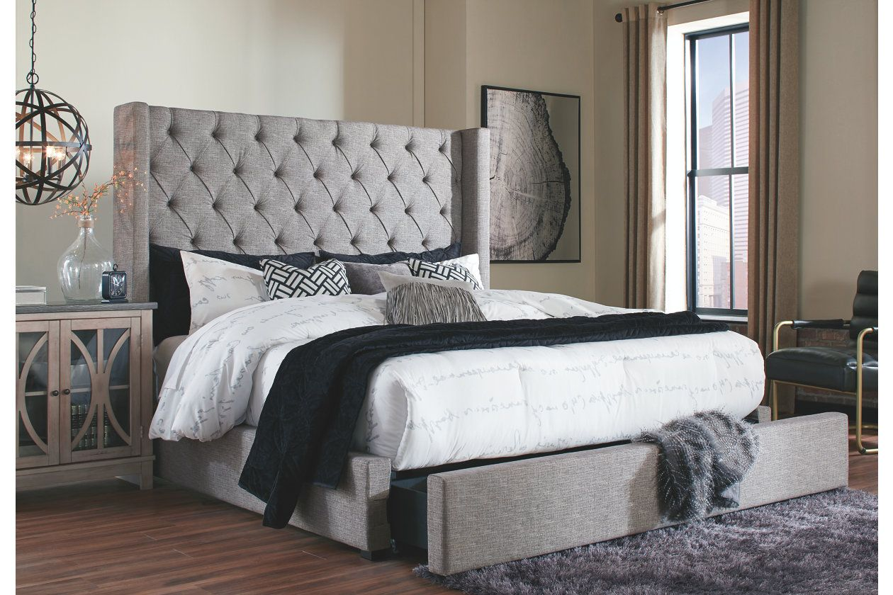 Sorinella Queen Upholstered Bed With Storage Ashley Homestore Contemporary Platform Bed Queen Upholstered Bed Headboards For Beds
