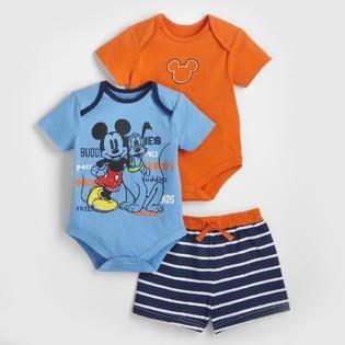 Disney- -Mickey Mouse Infant Boy's Bodysuits & Shorts - 3 Pc.