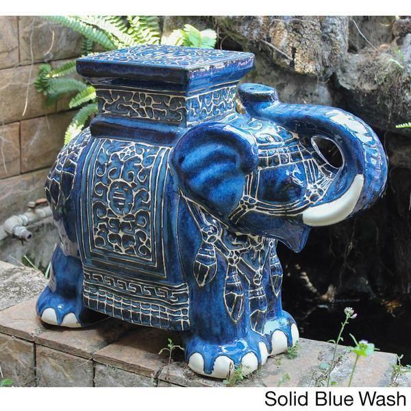 Global Moroccan Caravan Large Porcelain Elephant Stool