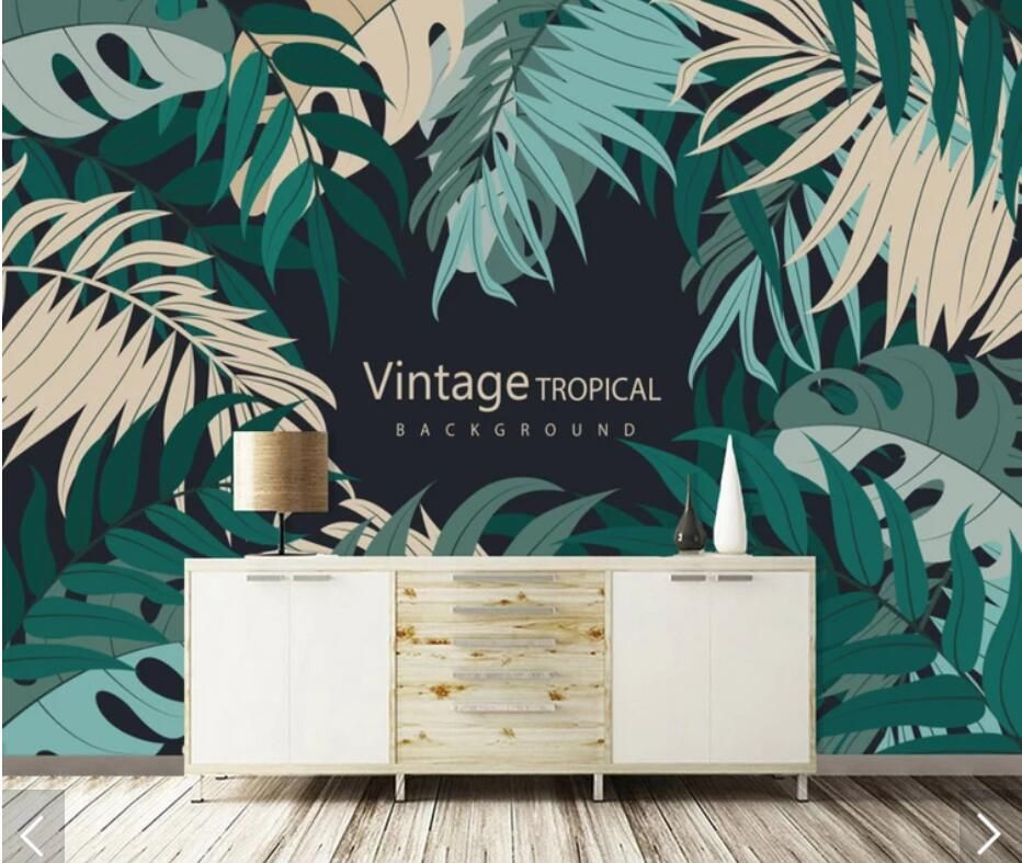 Tropical Leaves Wallpaper Mural Abstract Rainforest Wall Papers Roll For Living Room Home Wall Decor Leaves Murals 3d Wall Mural Wallpaper Leaf Wallpaper Mural