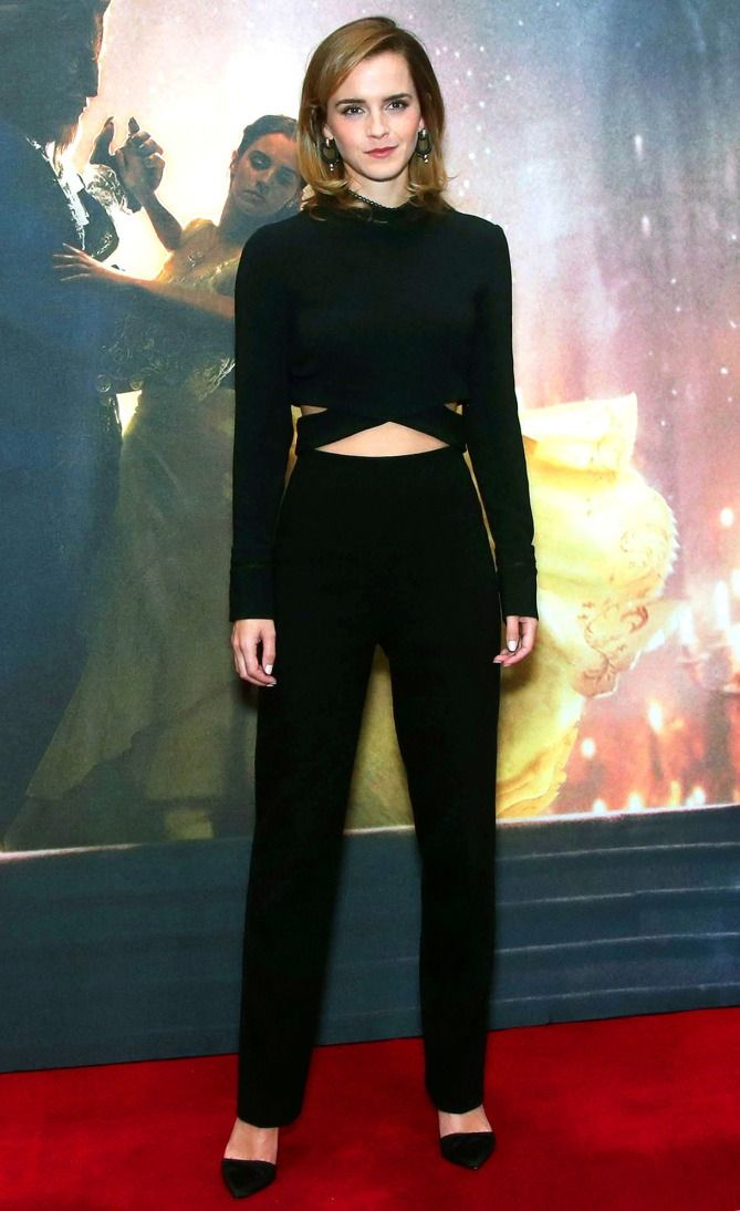 3a5d5064714d Emma Watson s Beauty and the Beast Eco-Friendly Outfits - 3.1 Phillip Lim  black crop top and pants