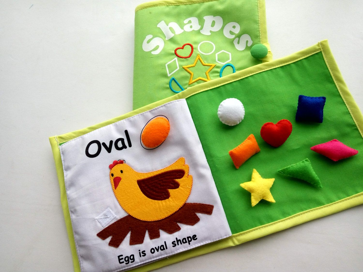 Christmas Gift For Kids, Quiet Book, Shape Learning, Shape Fabric Book,  Nursery