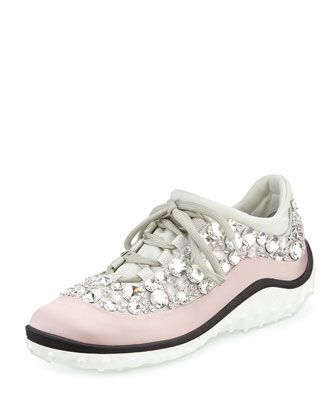 Sometimes you've gotta be a tourist, but who says you can't be fashionable? #Montreal #NMshoelove Jeweled Satin Lace-up Sneaker by Miu Miu at Neiman Marcus.