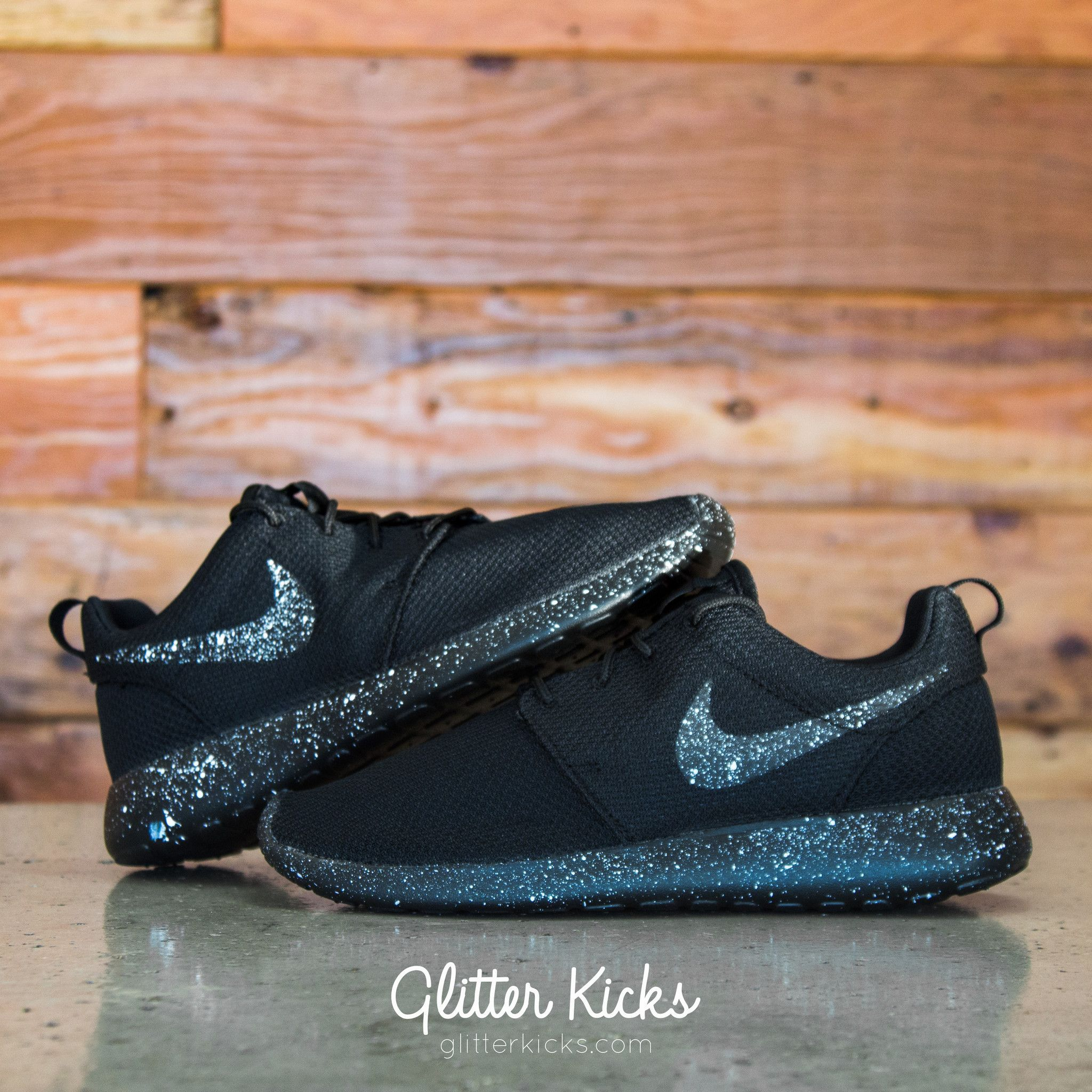 I love these Nike Roshe One Customized by Glitter Kicks -  Oreo  BLACK    BLACK PAINT SPLATTER 359edddf6b26