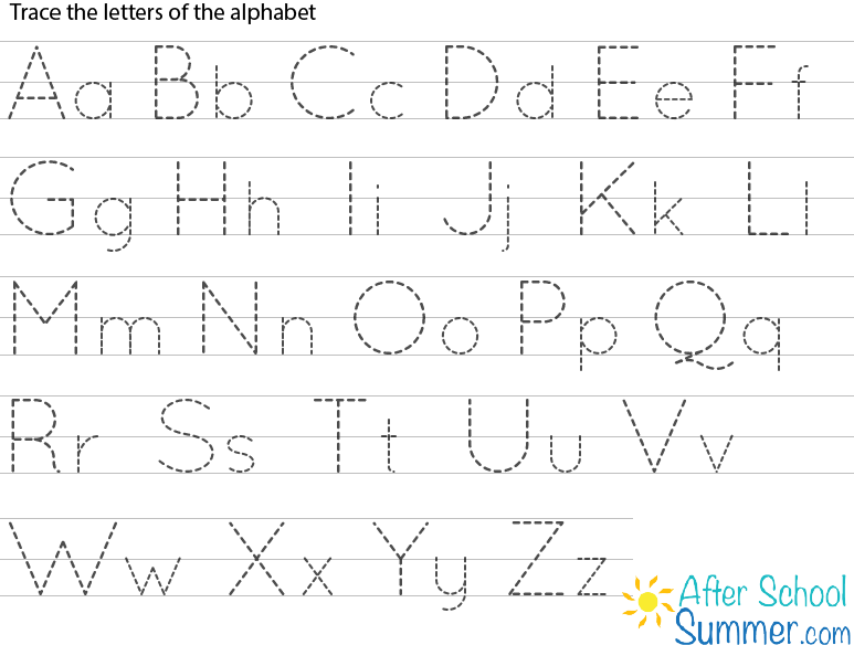 printable traceable alphabet chart for upper and lower case ...