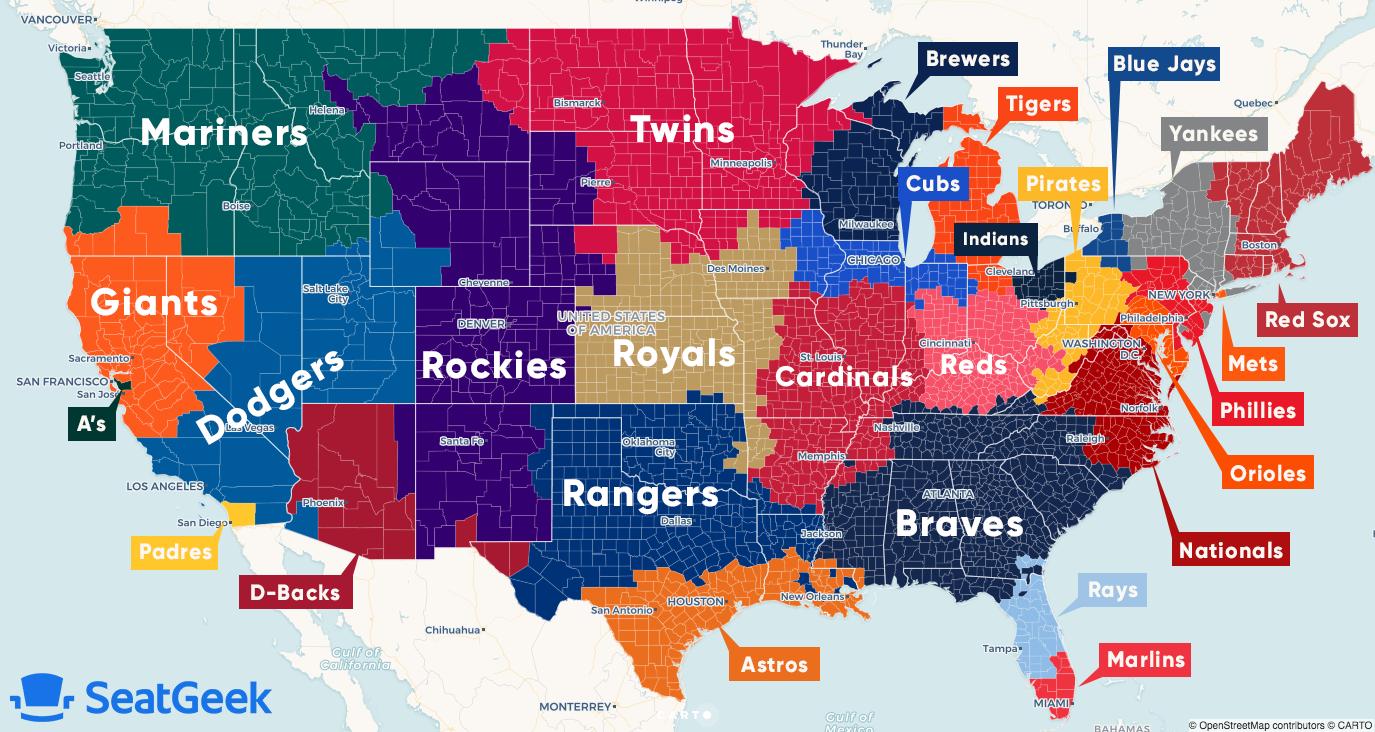 Visual Map Of Mlb Fandom Across The Us Mlb Mlb Teams Braves