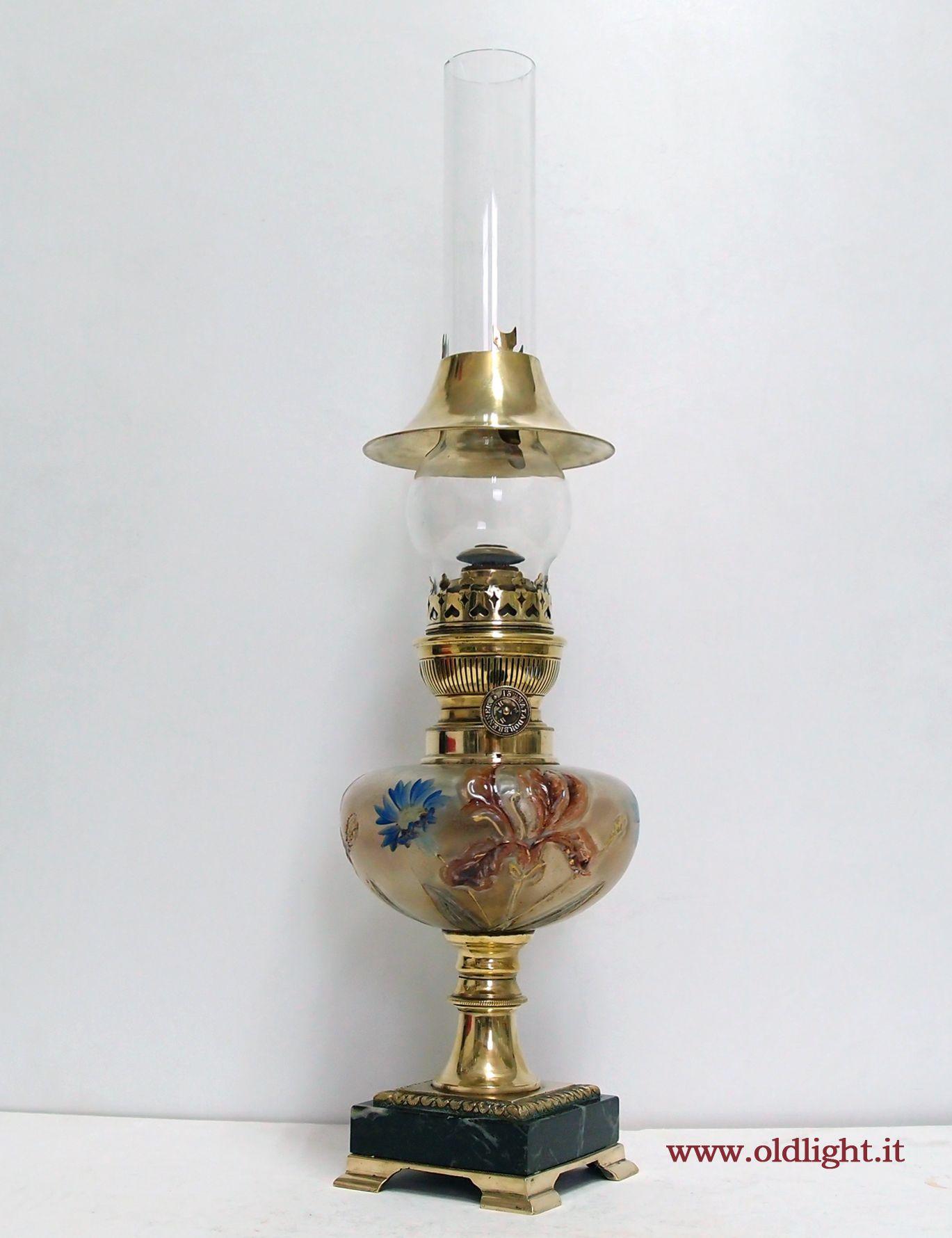 Lamps Lume Da Tavolo Con Colonna In Ottone E Base Bronzo Marmo Serbatoio