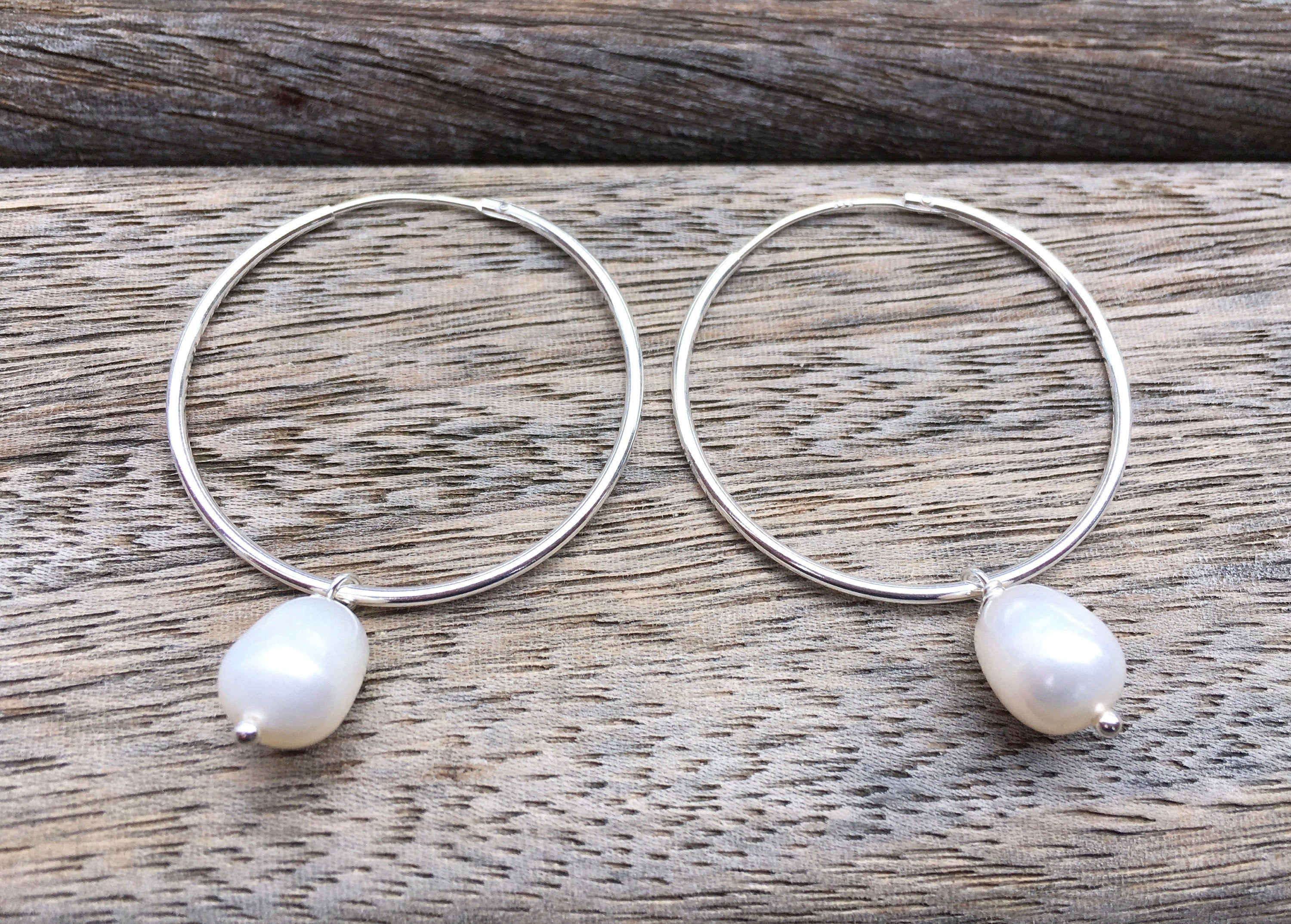 Photo of White pearl hoop earrings, 925 sterling silver dangle, everyday dainty jewelry, minimalist style, uk bridesmaid jewels, june gift for her